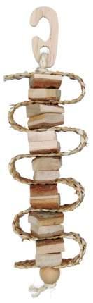 Игрушка для птиц TRIXIE Gnawing Wood on a Sisal Rope, деревянная, 30 см