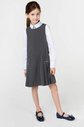 Сарафан для девочки Маленькая Леди, цв.серый, р-р 128