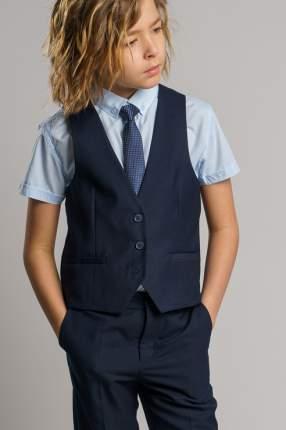 Комплект жилет и рубашка PlayToday 393418_темно-синий, голубой цв.синий р.122