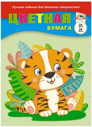 """Цветная бумага, А4, 24 листа, 24 цвета, """"Тигрёнок"""""""