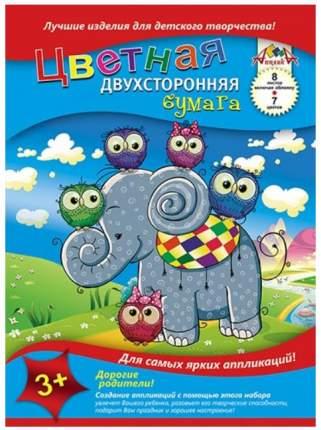 """Цветная бумага двухсторонняя, А4, 8 листов, 7 цветов, """"Слоненок и совушки"""""""
