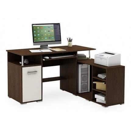 Компьютерный стол ВМФ Амбер-10 MAS_KSAM-10-VB, белое дерево, венге