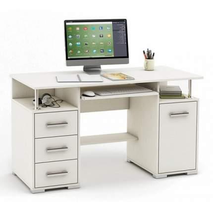 Компьютерный стол ВМФ Амбер-7 MAS_KSAM-7-BEL, белое дерево