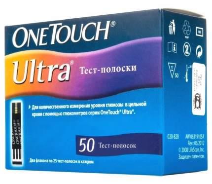 Тест полоски OneTouch Ultra для определения количества глюкозы в крови 50 шт.