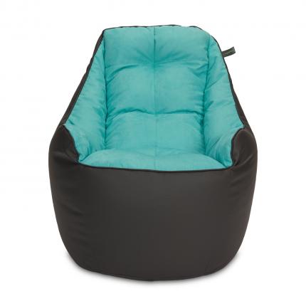 Бескаркасное кресло «Босс», эко-кожа и замша, Графит и голубой