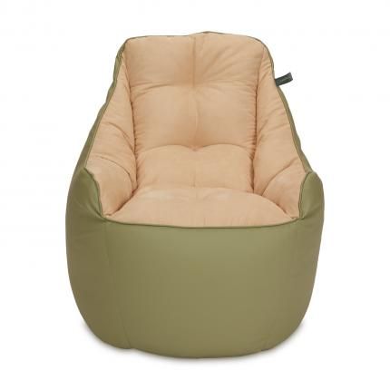 Кресло мешок «Босс», эко-кожа и замша, Оливка и бежевый