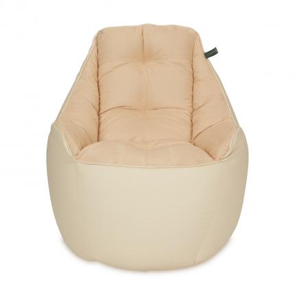Бескаркасное кресло «Босс», эко-кожа и замша, Бежевый