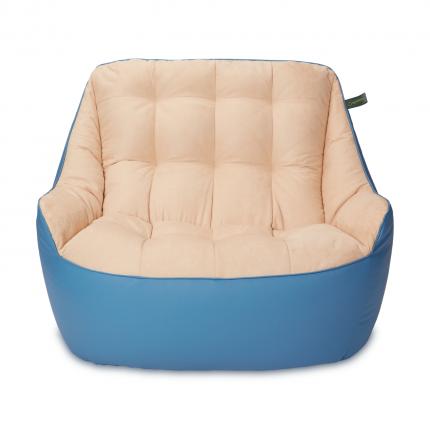 Кресло мешок «Диван Босс», эко-кожа и замша, Синий и бежевый