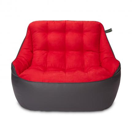 Кресло мешок «Диван Босс», эко-кожа и замша, Графит и красный
