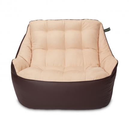 Кресло мешок «Диван Босс», эко-кожа и замша, Коричневый и бежевый