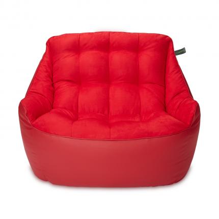 Кресло мешок «Диван Босс», эко-кожа и замша, Красный