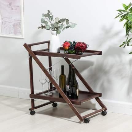 Складной сервировочный столик, коричневый, 75 х 45 х 62 см