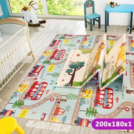Детский коврик складной развивающий SLAMA KIDS Дорога London + Жираф Ростомер- 200x180x1