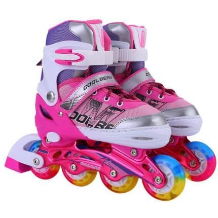 1toy Коньки роликовые, переднее колесо со светом, S (31-34), розовые Т14956Н