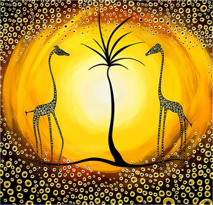 "Картина на холсте с подрамником ХитАрт ""Два жирафа"" 100x96 см"