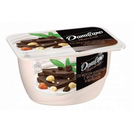 Десерт Даниссимо творожный с наполнителем Шоколад с фундуком и вербеной 6% бзмж 130 г