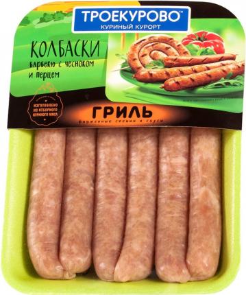 Колбаски куриные Троекурово барбекю с чесноком и перцем охлажденные +-500 г