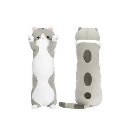 Мягкая игрушка-антистресс Кошка-батон, длинный кот серый, 70 см