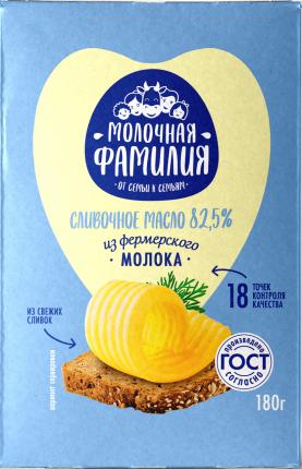 Сливочное масло Молочная Фамилия Крестьянское 82,5% 180 г