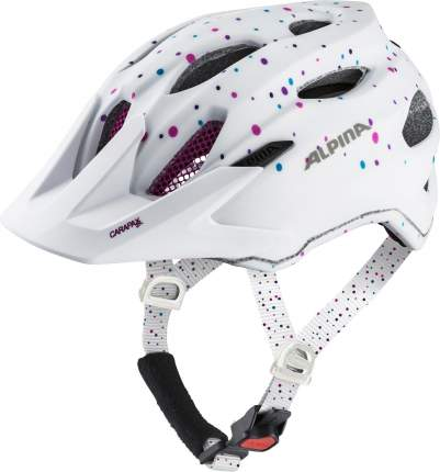 Велошлем Alpina 2021 Carapax Jr. White Polka Dots Matt (См:51-56)