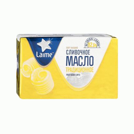 Сливочное масло сладкосливочное Laime Традиционное 82,5% бзмж 380 г