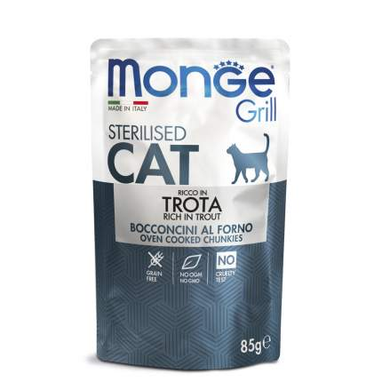 Влажный корм для кошек Monge Cat Grill, Sterilised форель, 14шт, 85г
