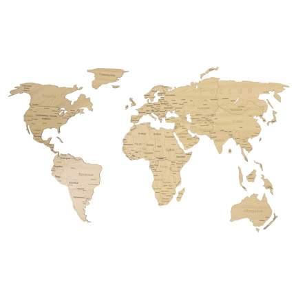 Деревянная карта мира AFI DESIGN 150х80 см Countries Rus с гравировкой стран и городов