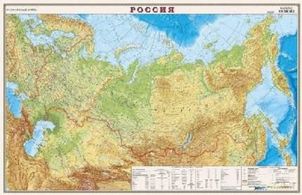 Карта России физическая 1:9,5М, офсет