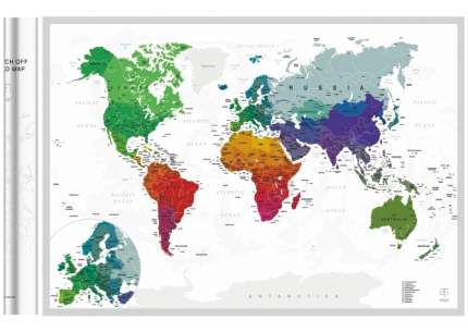 Стирающаяся скретч-карта мира AFI DESIGN Silver A1 (84х60 см)
