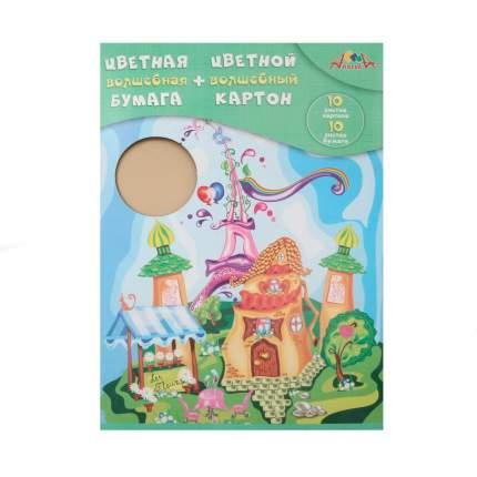 """Цветная волшебная бумага + картон """"Сказочный городок"""", А4"""