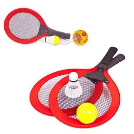 ABtoys Набор для игры 2 в 1 - Бадминтон и теннис, 4 предмета в сетке )
