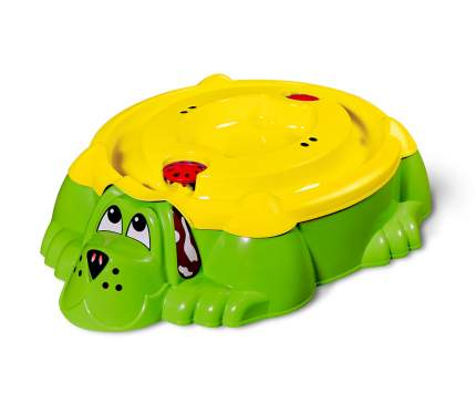 Детская пластиковая песочница мини-бассейн Собачка с крышкой PalPlay 432 (зеленый/желтый)
