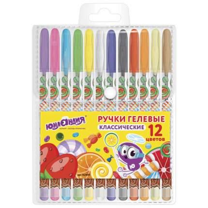 """Ручки гелевые """"Юнландия"""", 12 цветов, корпус с печатью, узел 0,5 мм, линия 0,35 мм"""
