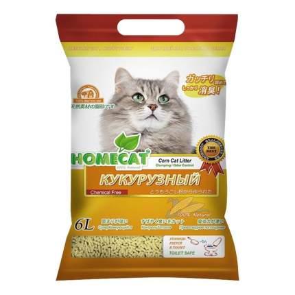 Комкующийся наполнитель для кошек HOMECAT Эколайн кукурузный, 2.8 кг, 6 л