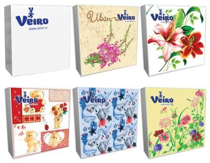 Салфетки трехслойные Veiro с многокрасочными рисунками, в ассортименте