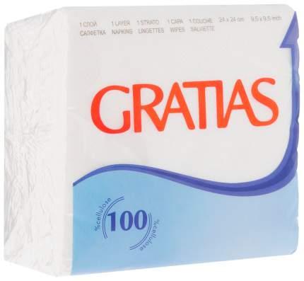 Салфетки бумажные Gratias эконом 1слой 24*24 см 100 штук