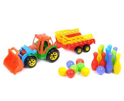 Большой трактор Польская пластмасса с прицепом и ковшом, с мини-кеглями