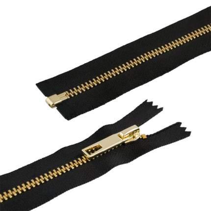 """Молнии декоративные """"Gamma"""" Premium с брелком однозамковые, 60 см, цвет: черный/под золото"""