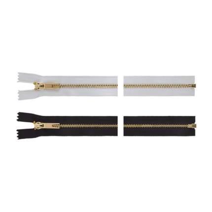 """Молнии декоративные """"Gamma"""" Premium с брелком однозамковые, 70 см, цвет: белый/под золото,"""