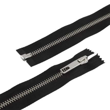 """Молнии декоративные """"Gamma"""" Premium с брелком однозамковые, 70 см, цвет: черный/под серебр"""