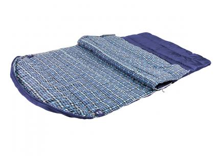 Спальный мешок Jungle Camp Glasgow Double, двухместный, с фланелью, цвет: синий