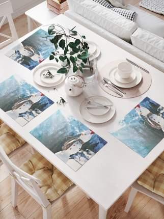 JoyArty Комплект салфеток для сервировки стола «Снеговик в горах» (32х46 см, 4 шт.)