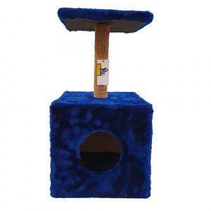 Комплекс для кошек Золотой кот Охотник, синий, 2 уровня