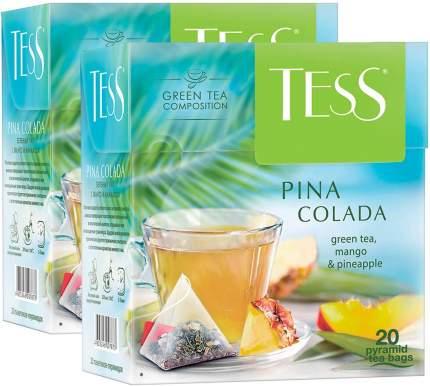 Чай зеленый Tess Pina Colada байховый пирамидки тропические фрукты