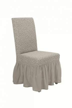 """Чехол на стул с оборкой Venera """"Жаккард"""", цвет слоновая кость, 1 предмет"""