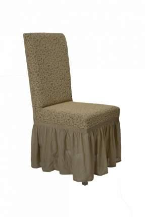 "Чехол на стул с оборкой Venera ""Жаккард"", цвет бежевый, 1 предмет"