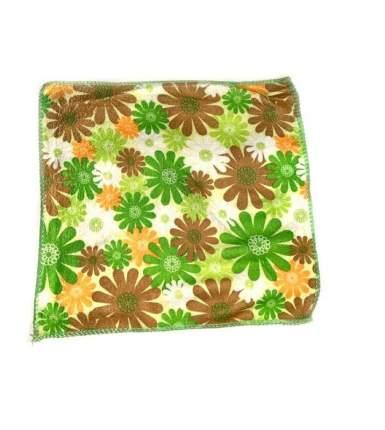 Салфетка из микрофибры с принтом, 25х25 см (Зелёный, Узор: Разноцветный принт)