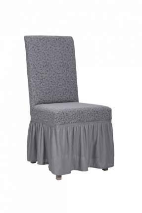 "Чехол на стул с оборкой Venera ""Жаккард"", цвет серый, 1 предмет"