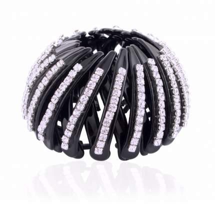 Пластиковая заколка серебристая для волос с кристаллами