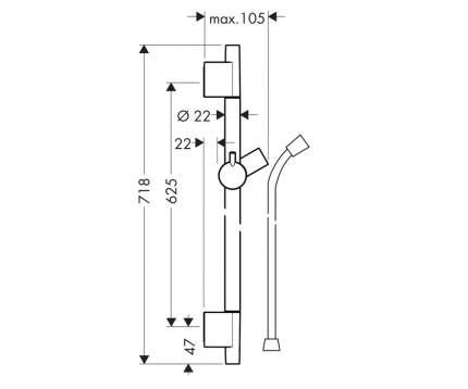 Штанга 65 см, шланг 1.6 м, Hansgrohe Unica'S Puro 28632700